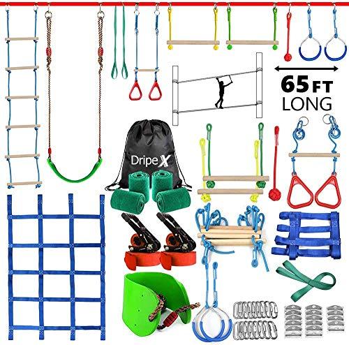 Dripex Ninja Slackline Set 20M Anfänger Slacklines mit dem zusätzliche Kletternetz, Schaukel und Strickleiter, hängen Hindernisse Training Kurs Set Klettertau für Kinder, Anfänger und Familien