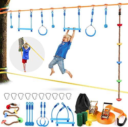 Odoland Slackline Ninja Set Kinder mit 15m Band und Gymnastikringe und Kletterseil Hindernisse Ratsche Ratschenschutz Baumschutz Trainingsgerät für Kinder & Anfänger