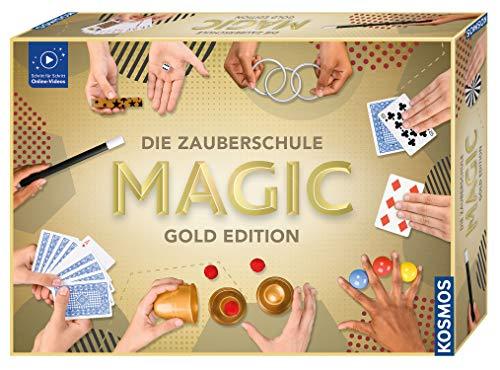 Kosmos 698232 Zauberschule Magic Gold Edition, 150 ZauberTricks von leicht bis anspruchsvoll, viele magische ZauberUtensilien, Zauberkasten für Kinder ab 8 Jahre und Einsteiger, inkl....