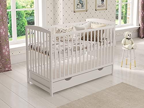 Babybett Gitterbett mit Schublade 120 x 60 cm + Schaumstoffmatratze + Hölzerne Sicherheitsbarriere + Beißschienen