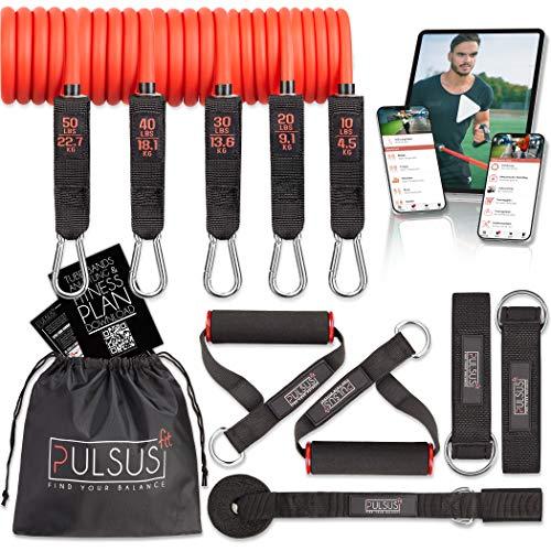 PULSUS fit Fitnessband Resistance Bands Set mit Übungsvideo App - Pro Expander Bänderset: 5 Widerstandsbänder, Griffe, Fußschlaufen, Türanker & Tragetasche   Sportbänder