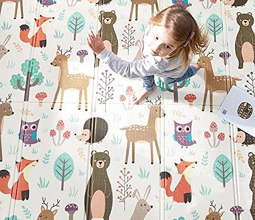 HB.YE Spielmatte baby Teppich Babymatte faltbarer Spieldecke Krabbelmatte baby Bodenmatte XPE rutschfest Material, Tragbar für Innen- oder Außenbereich(Beige)