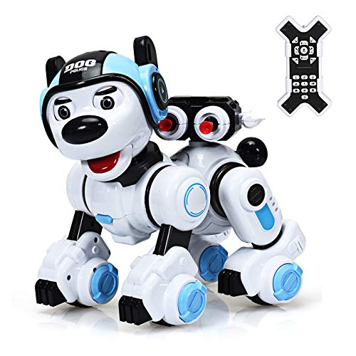 DREAMADE Ferngesteuerter Roboter, Intelligenter Spielzeughund für Kinder, Lernspielzeug Roboter, Interaktiver & Programmierbarer Roboterhund, Roboterhund mit Tanz- & Musikfunktion (Blau+Weiß)