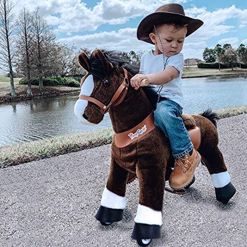 PonyCycle Offizielle Klassisch Modell U Reiten auf Pferd Spielzeug Plüsch Lauftier Dunkelbraunes Pferd mit Bremse und Ton für 4-9 Jahre Ux421