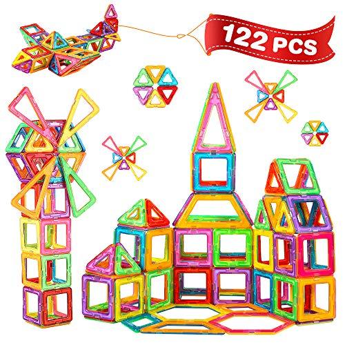 Crenova 122PCS Magnetische Bausteine Teiliger Bausatz Enthält Riesenrad Aufbewahrungstasche Büchlein Ideales Spielzeug als Geschenk für Kinder