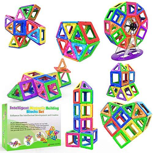 Desire Deluxe Magnetische Bausteine 94PC Konstruktion Bauen Blöcke Set Montessori Spielzeug Teilen für Kinder ab 2 3 4 5 6 7 8 Alter Jahren, Lernspielzeug für Mädchen Jungen Pädagogisches...